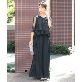 結婚式・謝恩会・フォーマルパーティードレス レーストップスワイドパンツ セットアップ (ブラック)319093