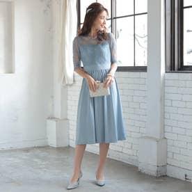 結婚式・二次会・セレモニーシーン対応 ワンピース・パーティードレス はしごレース切替ドレス320143 (ブルーグレー)
