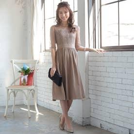 結婚式・二次会・セレモニーシーン対応 ワンピース・パーティードレス はしごレース切替ドレス320143 (モカチャ)
