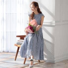 結婚式・二次会・セレモニーシーン対応 ワンピース・パーティードレス 切替レースドレス (ブルーグレー)320139