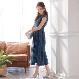 結婚式・二次会・セレモニーシーン対応 ワンピース・パーティードレス 切替レースドレス (ネイビー)320139