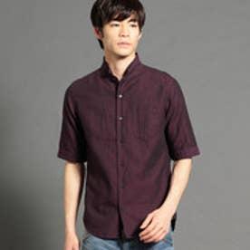 イタリアンカラーデザイン5分袖シャツ (07ボルドー)