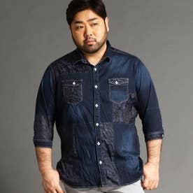 <大きいサイズ>パネル切り替えデザインシャツ (67ネイビー)
