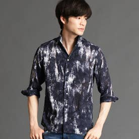 ボタニカル柄カットジャカード七分袖シャツ (67ネイビー)