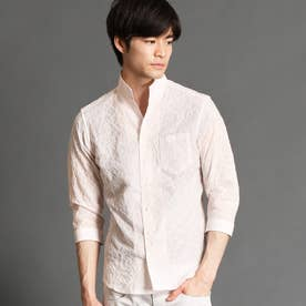 ショートレギュラーカラー七分袖シャツ (08ピンク)