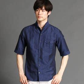 イタリアンカラー5分袖シャツ (67ネイビー)