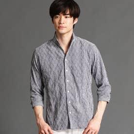 タックジャカード7分袖シャツ (67ネイビー)