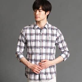 ボタニカル柄七分袖シャツ (09ホワイト)
