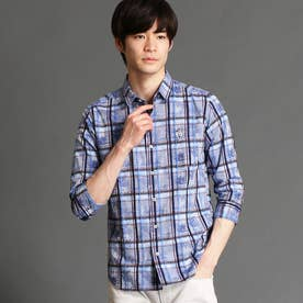 ボタニカル柄七分袖シャツ (60ブルー)
