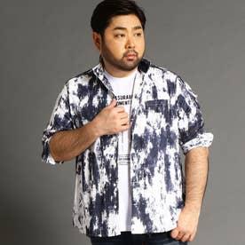 <大きいサイズ>ボタニカル柄カットジャカード七分袖シャツ (09ホワイト)