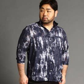 <大きいサイズ>ボタニカル柄カットジャカード七分袖シャツ (67ネイビー)