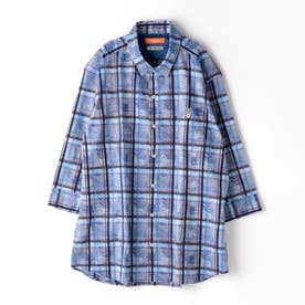 <大きいサイズ>ボタニカル柄七分袖シャツ (60ブルー)