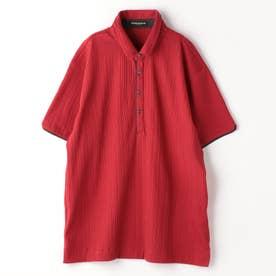 <大きいサイズ>ランダムテレコシルケットポロシャツ (01レッド)