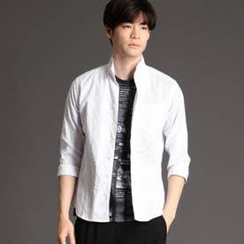 タックジャカード7分袖シャツ (09ホワイト)