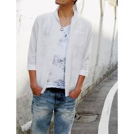 先染めラメクレープ七分袖シャツ (09ホワイト)