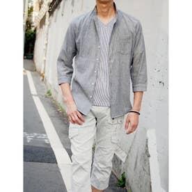先染めラメクレープ七分袖シャツ (29グレー)