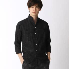 先染めラメクレープ七分袖シャツ (49ブラック)