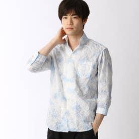 タイダイ染め七分袖シャツ (64サックス)