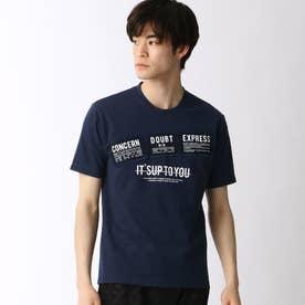 パッチワークロゴプリントTシャツ (67ネイビー)