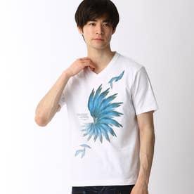 フェザープリントTシャツ (09ホワイト)