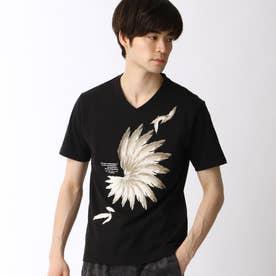 フェザープリントTシャツ (49ブラック)
