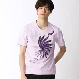 フェザープリントTシャツ (88ラベンダー)