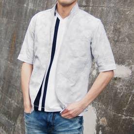 刺し子風ジャカード半袖シャツ (09ホワイト)