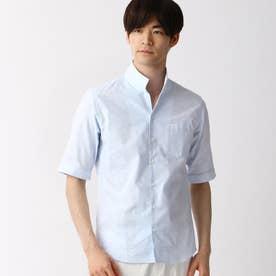 刺し子風ジャカード半袖シャツ (64サックス)