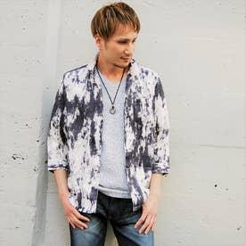 ボタニカル柄カットジャカード七分袖シャツ (09ホワイト)