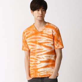 ウェーブ柄膨れジャカードTシャツ (10オレンジ)