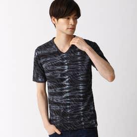 ウェーブ柄膨れジャカードTシャツ (49ブラック)