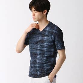 ウェーブ柄膨れジャカードTシャツ (67ネイビー)