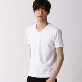 バスケット柄風VネックTシャツ (09ホワイト)