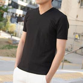 バスケット柄風VネックTシャツ (49ブラック)