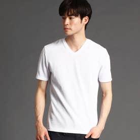 サッカ-ストライプVネックTシャツ (09ホワイト)