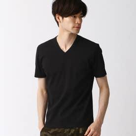 サッカ-ストライプVネックTシャツ (49ブラック)