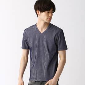 サッカ-ストライプVネックTシャツ (67ネイビー)