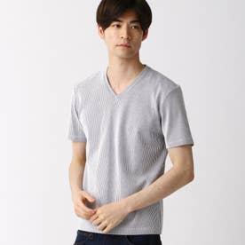 サッカ-ストライプVネックTシャツ (91その他2)