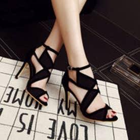 サンダル オープントゥ レディース デザインサンダル デザイン ストラップ ヒール 靴 シューズ (ブラック)