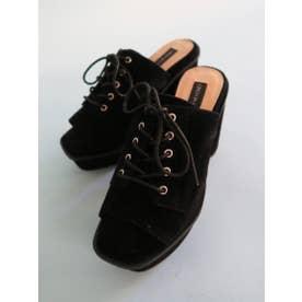suede laceup sandal (black)