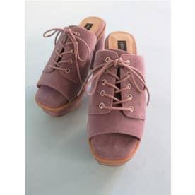 suede laceup sandal (lavender)