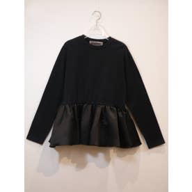 satin peplum longT-shirt (black)