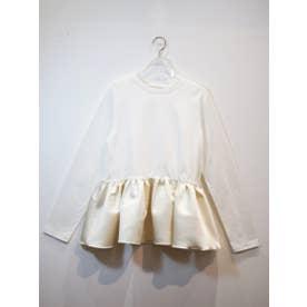 satin peplum longT-shirt (white)