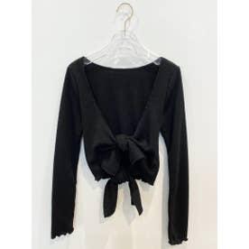 double ribbon lib cardigan (black)