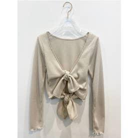 double ribbon lib cardigan (offwhite)