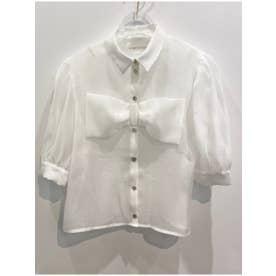 organdie ribbon blouse (white)