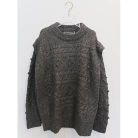 cable over knit top (gray)