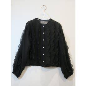 line frill blouse (black)