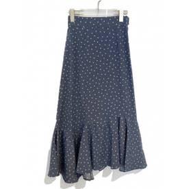 dot flared skirt (bluegray)
