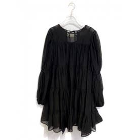 chiffon tiered one-piece (black)